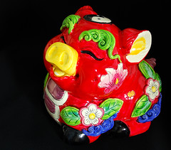 Groovy Pig (NowJustNic) Tags: china home catchycolors ceramic pig nikon chinesenewyear newyear  piggybank  tianjin lunarnewyear  springfestival    yearofthepig haidiandistrict d80 nikkor18135mm dongwangzhuang ceramicsiown