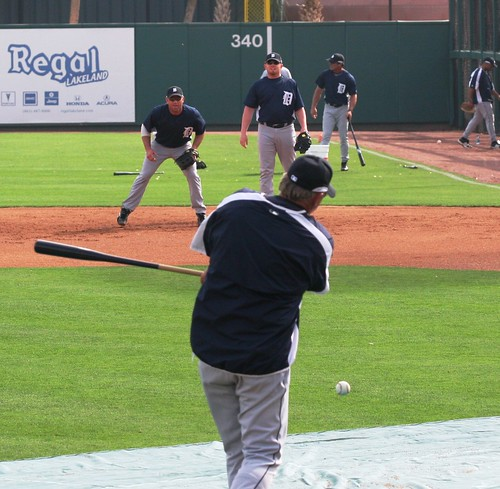 The Detroit Tigers field some groundballs at spring training.