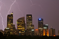 Electric Storm over Sydney Financial District (Pieter Pieterse) Tags: storm electric skyline night buildings skyscrapers sydney australia financialdistrict bolt newsouthwales late bolts hudson lightning gresham thunder intercontinental abnamro amptower australiasquare governorphilliptower marriothotel chifleytower axaaustralia