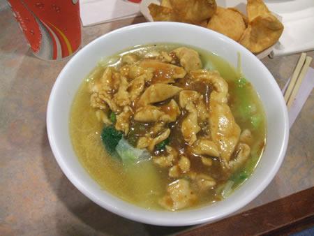 Singapore chicken noodle soup