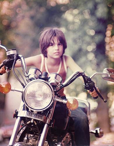 "Seth on Morley Yan""s Motorcycle on 33 Baldwin St, Toronto, June 1979"