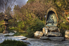 Grotto, Big Wild Goose Pagoda, Xi'an, China (Thad Roan - Bridgepix) Tags: china statue pagoda buddha courtyard patio xian grotto buddist hdr photomatix bigwildgoosepagoda giantwildgoosepagoda 200703