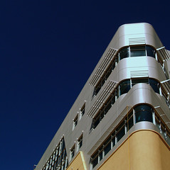 Ship of the Desert (benrobertsabq) Tags: blue sky brown abstract newmexico architecture silver hospital gray tan angles albuquerque nm stucco skew nuevomexico landofenchantment universityofnewmexicohospital unmh