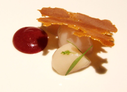 Ideas in Food - Raw Nantucket Bay Scallops - cranberry-horseradish, walnuts, black pepper