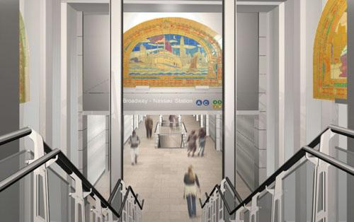 Marine Grill Murals in the Fulton Street Transit Center