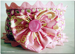 Heart YoYo Ric Rac Pet Collar Slipcover (Free Pattern) (Penny Sanford Porcelains) Tags: pet west mississippi louisiana pattern heart spirit farm heather westie free hills terrier highland gordon bailey penny ric collar yoyo rac sanford hamer slipcover fikes