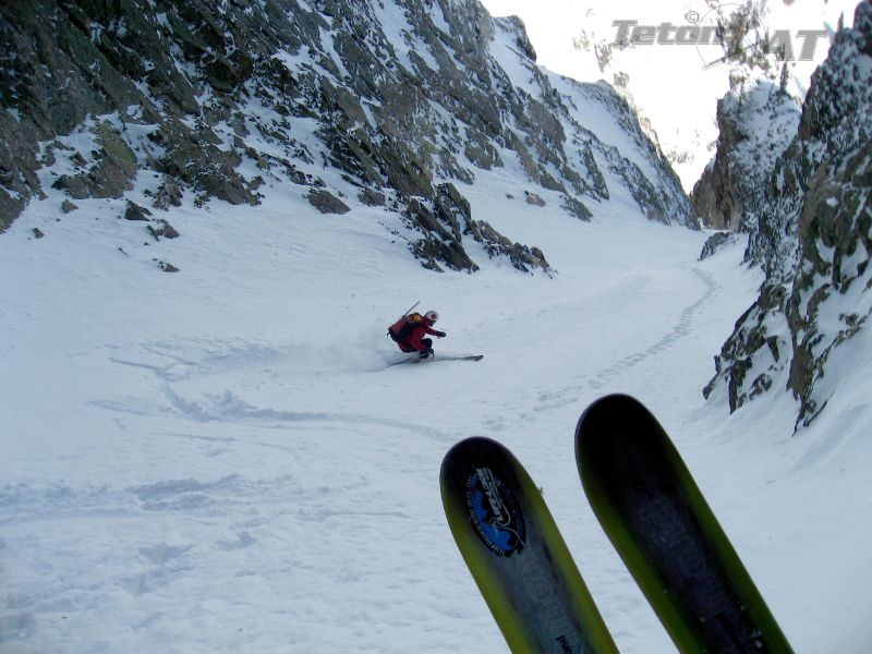 Reed skis off the top of the Apocalypse Couloir