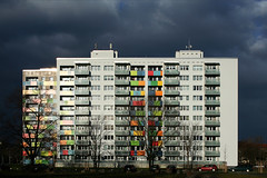 A house with colourful balconies (Markus Moning) Tags: windows sky house building colors clouds germany deutschland dresden colorful colours apartment balcony balkon fenster saxony himmel wolken haus sachsen block colourful canoneos350d gebude farbig farben moning strassburg straburg markusmoning newphotographer