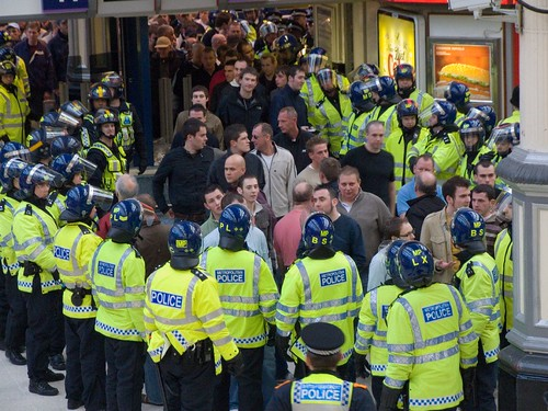 Police reception for Swansea football supporters, London Victoria Station, 31 March 2007