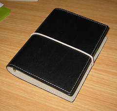 my new filofax. brown leather cover, elastic strap