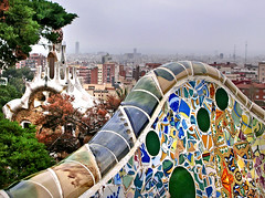 Top of Gaud (angelocesare) Tags: barcelona max spain colours explore gaudi barcellona spagna gaud parkgell flickrexplore antonigaud inflickrexplore onflickrexplore angeloamboldiphotos