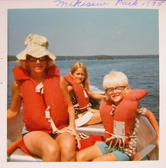Mikisew Provincial Park 1975 (haunted snowfort) Tags: family summer lake me water mom boat sister memories 1975 boating cathy stern lifejackets provincialpark lifepreservers mikisew