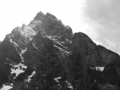 Mount Baring (Ryan Hadley) Tags: trees blackandwhite bw cliff usa snow mountains nature forest landscape washington hiking rockface cascades northcascades mountbakersnoqualmienationalforest barclaylake cascadesmountains mountbaring