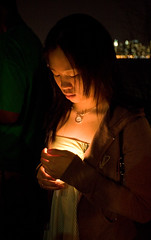 Virginia Tech Vigil on Castle Point - by David Pfeffer