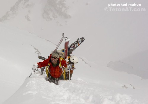 Neil Beidleman leads Team Cali-rado up the East Face of the Middle Teton