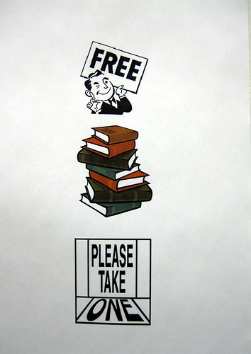 Poster saying free books