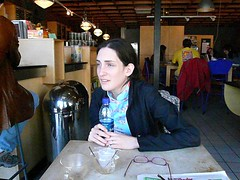 phoebe hugging her water (alist) Tags: cambridge coffee mit toscaninis sorkin robison sharlin alicerobison davidsorkin