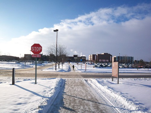Winter's Walk: Out of the car and heading to campus