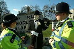 Thought Crime 1 (little tramp) Tags: london art iraq police terrorist tonyblair activism arrest freespeech downingstreet charliechaplin brianhaw silentprotest notaloud neilgoodwin