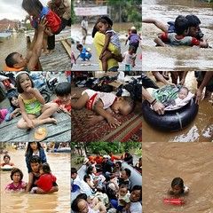 children in 2007 jakarta floods (Satya W) Tags: trees people storm wet water rain weather collage kids river children indonesia flooding flood jakarta floods 2007 banjir 200702