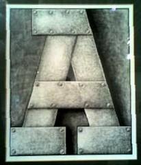 Clifford Harper 'A' (Scuola di Atene) Tags: cameraphone gallery durham anarchy aa dli oneletter a cliffordharper