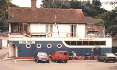 It's a Boat! It's a Pub! It's Summer! (innpictime) Tags: film bar 35mm cycling boat seaside pub inn whitbread tavern isleofwight pilot bembridge courtingcouple unusualbuilding olympusom1n httpwwwflickrcomgroupspublichouses