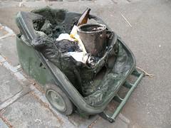 Burnt wheelie bin. (Leni McPoopies) Tags: trash garbage bin burned wheeliebin