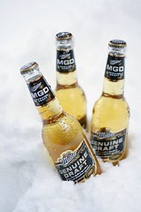 MGD Glamour Shot 2 (christopher.woo) Tags: winter snow cold ice beer outdoors 50mm frozen bottle refreshing mgd millergenuinedraft xti