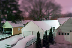 fakeminiature of the back yard (gustavosal) Tags: snow lansing nightphoto tiltshift fakeminiature