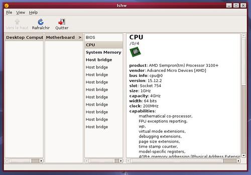 Le CPU détecté et décortiqué