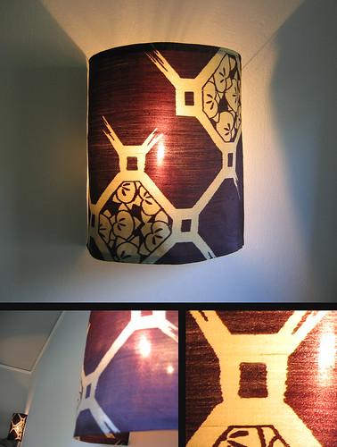 Antique kimono silk scrap light shades