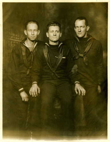 Carl Johnson and two Merchant Marines c 1917-19