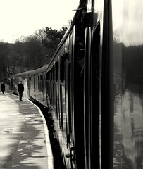waiting for the train to leave (Swiv) Tags: blackandwhite yorkshire trains steamtrains keighley howarth worthvalleyline lptransportation adoublefave