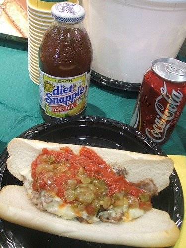 Lunch: a Philly cheese steak and a snapple