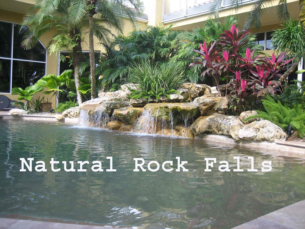 Natural Rock Falls from Spa to Pool