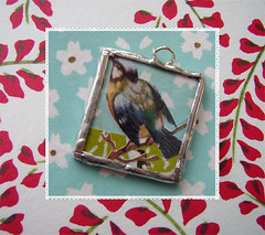 aqua blossom sparrow (Liquid Sky Arts) Tags: sky shop spring arts mini sparrow liquid pendant preview songbird etsty