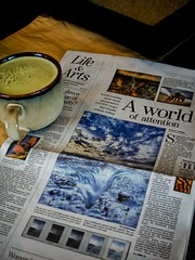 HDR on the Front Page (while I enjoy my soy green tea latte) (Stuck in Customs) Tags: birthday austin photography iceland nikon flickr texas photographer weekend arts documentary sxsw np latte greentea interview frontpage hdr trey statesman southbysouthwest rebekka highquality austinamericanstatesman stuckincustoms treyratcliff pagedegarde