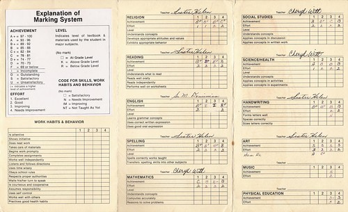 8th Grade Report Card by Cat Sidh, on Flickr