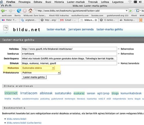 bildu.net euskarazko edukiak etiketatzen