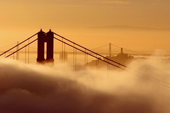 Burning Fog (A Sutanto) Tags: sf sanfrancisco california ca city morning bridge urban usa fog skyline america sunrise goldengatebridge goldengate coittower baybridge northamerica silhoutte questfortherest peopleschoice ggb splendiferous abigfave superaplus aplusphoto superbmasterpiece
