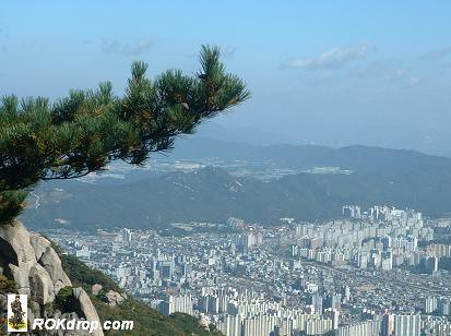 View of Downtown Uijongbu from Dobong Mountain