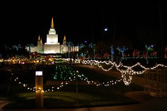 Strings Of Lights (cwgoodroe) Tags: christmas longexposure sunset holiday building water fountain architecture night dark temple lights oakland long exposure nightshot religion jesus expose christmaslights bayarea string mormon stillwater ist pentaxistd mormontemple chronicle96hours