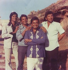 Sholay - Amitabh Bachan, Dharmendra, Sanjiv Kumar & Amjad Khan (L-R) (Brajeshwar) Tags: friends people movie indian group sholay zuzu dharmendra amjadkhan amitabhbachan sanjivkumar