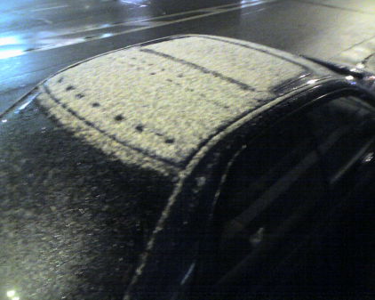 snow covered car roof