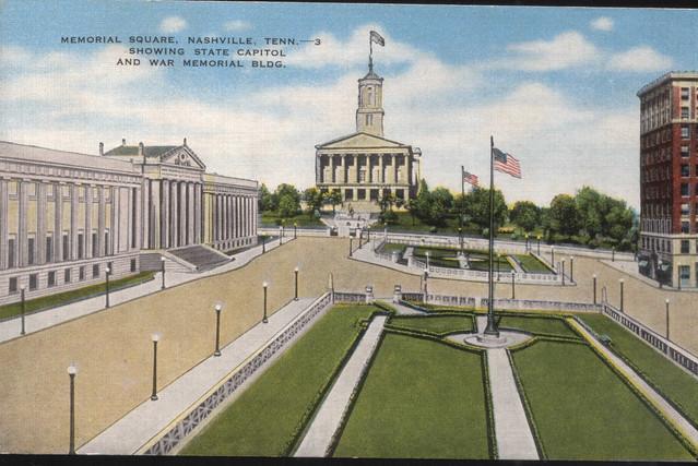 Linen Post card: Nashville Memorial Square.