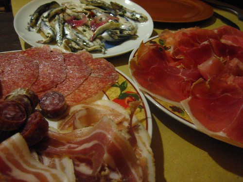 Affettati Misti - Prosciutto, Pancetta, Sausages, and Anchovies (Alici)
