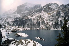 Lake Haiyaha in the mist