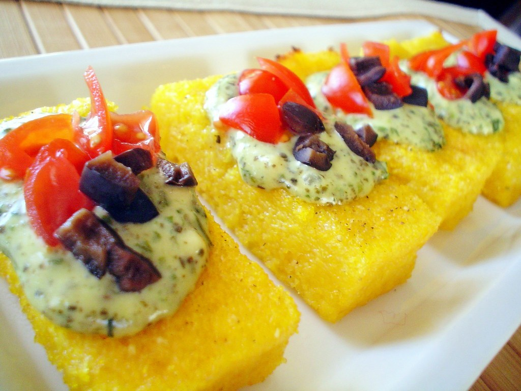 Polenta Crostini with Pesto ~ recipe