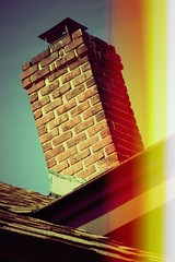 chimchiminy (completelyknown) Tags: chimney house brick home bricks lightleak smokestack lightbleed canyoutell justfaking toycameraish