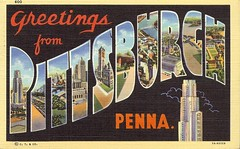 Greetings From Pittsburgh (Cowtools) Tags: pittsburgh linen postcard ephemera vintagepostcard largeletter vintagepittsburgh